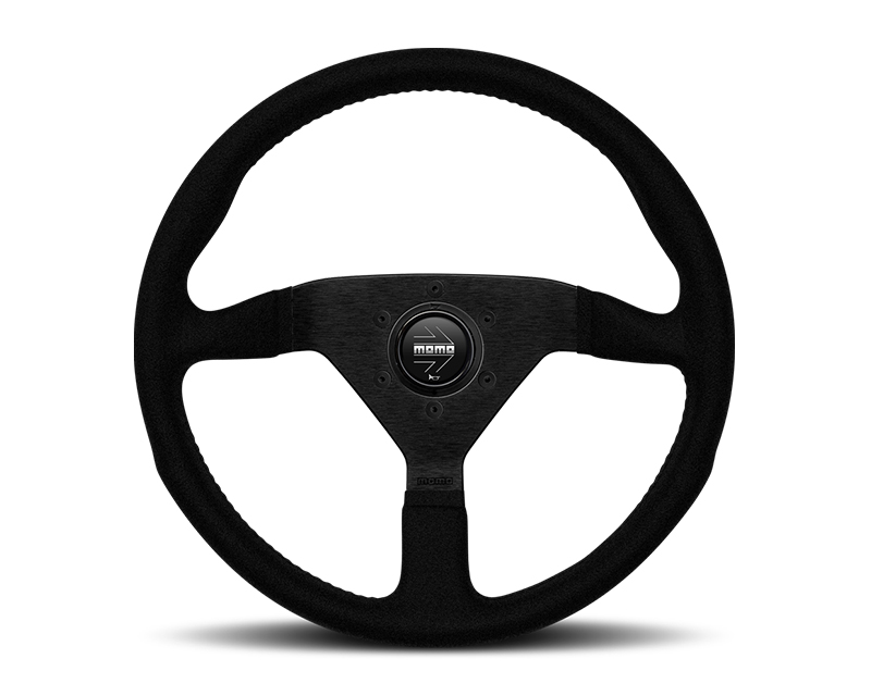 MOMO Monte Carlo Black Alcantara Leather with Black Stitching 350mm Steering Wheel - MCL35AL1B