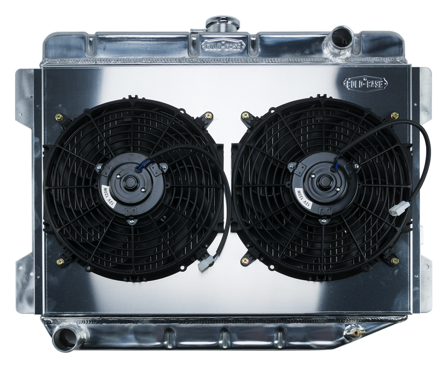 70-74 E Body Challenger Aluminum Performance Radiator And 12 Inch Dual Fan  Kit MT 17x26 Inch Cold Case Radiators