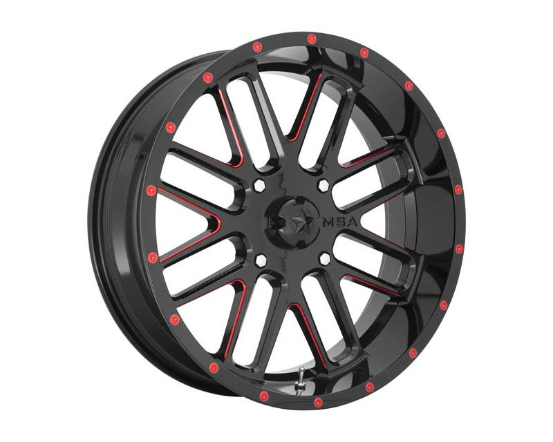 MSA Offroad Wheels Bandit Wheel 18x7 4X137 0mm Gloss Black Milled w/Red Tint - M35-018737R