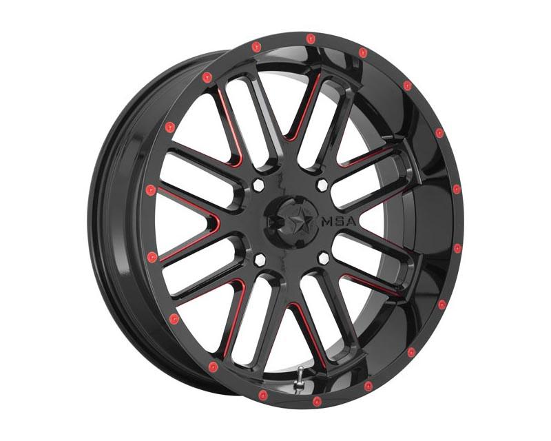 MSA Offroad Wheels Bandit Wheel 22x7 4X137 0mm Gloss Black Milled w/Red Tint - M35-022737R