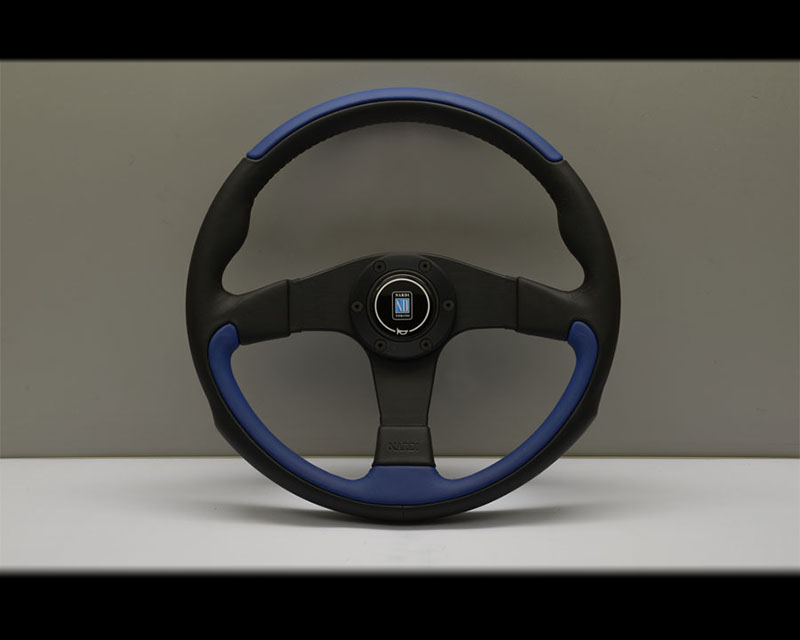 Nardi Leader Steering Wheel - Black & Blue Leather with Black Coated Aluminum Spoke - NRD-6090-35-2003