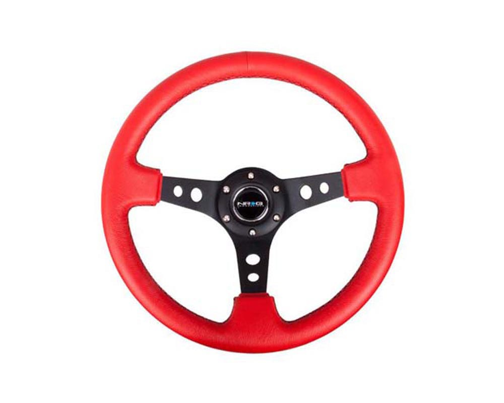 NRG Red Leather with Black Stitching 3inch Deep 350mm Sport Steering Wheel Universal - RST-006RR-BS