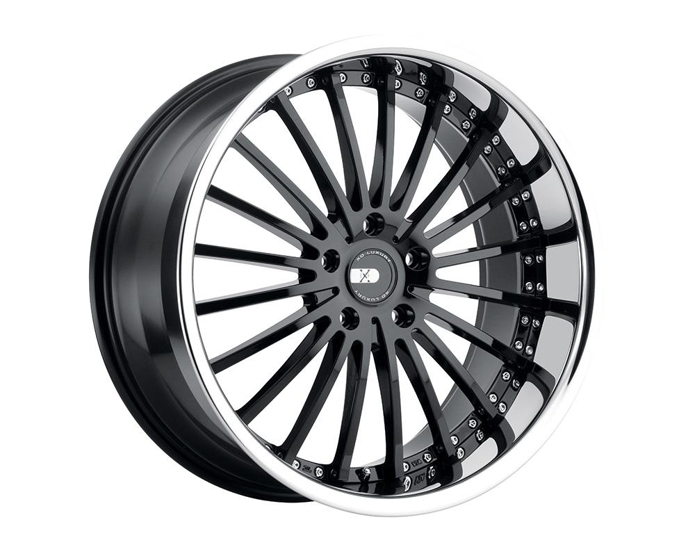 XO Luxury New York Wheel 22x10.5 5x120 38mm Gloss Black w/ Stainless Steel Lip - 2205NEW385120B72