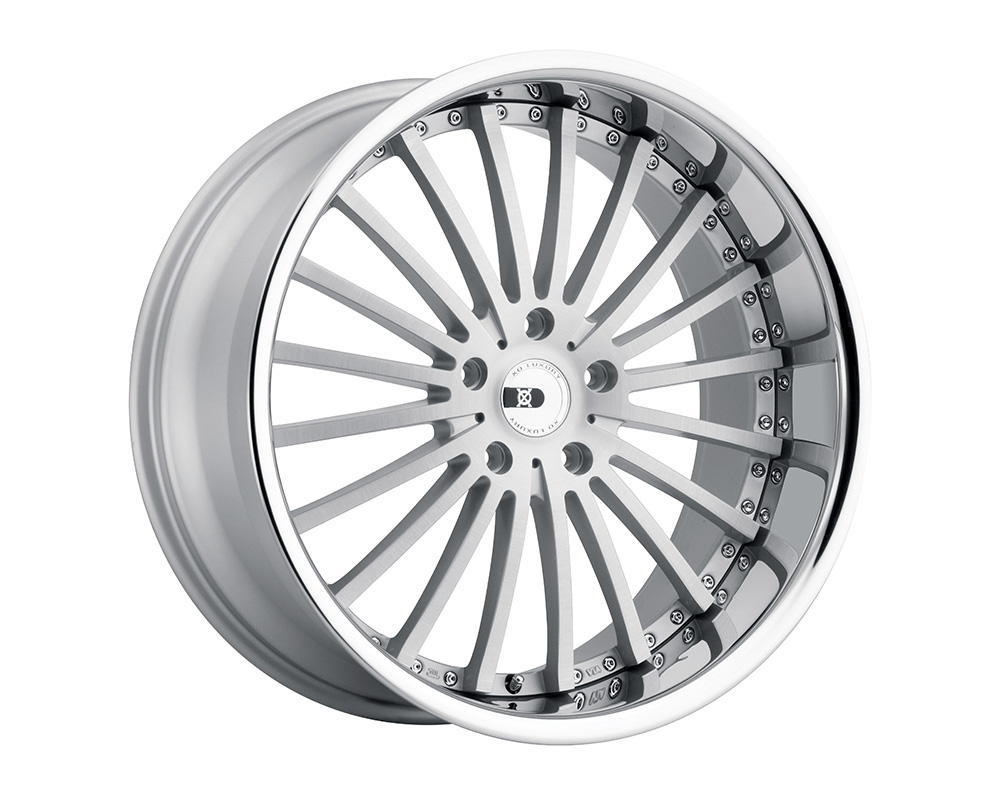 XO Luxury New York 22x10.5 5x112 +42 Silver W/Brushed Face And Stainless Steel Lip - 2205NEW425112S66
