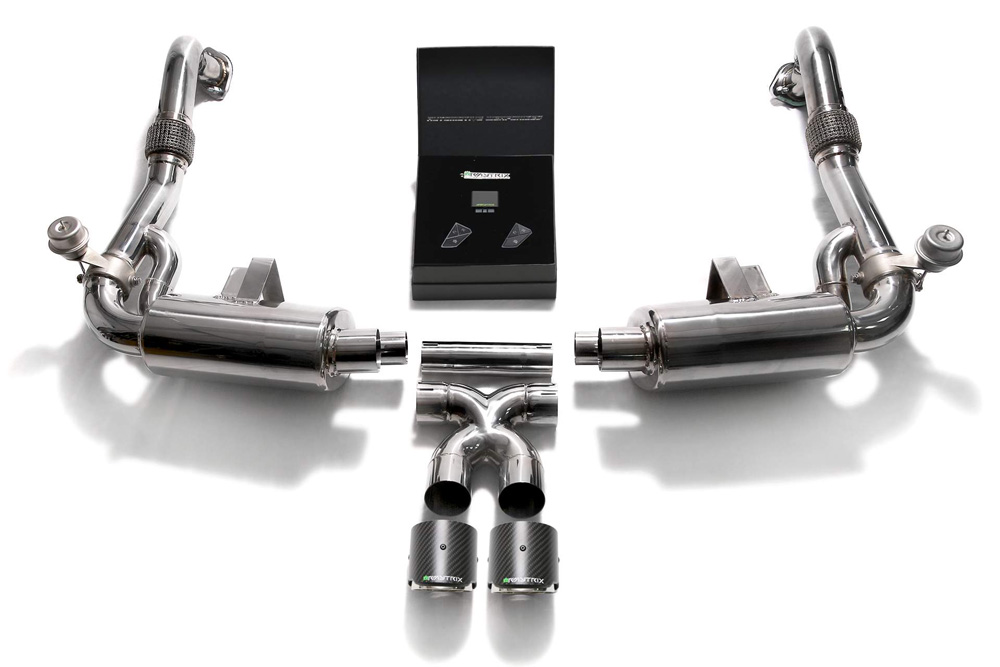 ARMYTRIX Stainless Steel Valvetronic Exhaust System Dual Carbon Tips Porsche 718 Boxster | Cayman 2017-2021 - P82T1-DC24