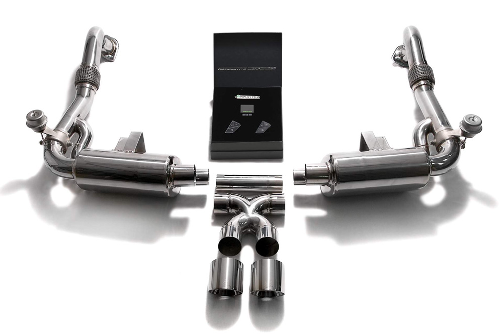 ARMYTRIX Stainless Steel Valvetronic Exhaust System Dual Chrome Silver Tips Porsche 718 Boxster | Cayman 2017-2021 - P82T1-DS24C