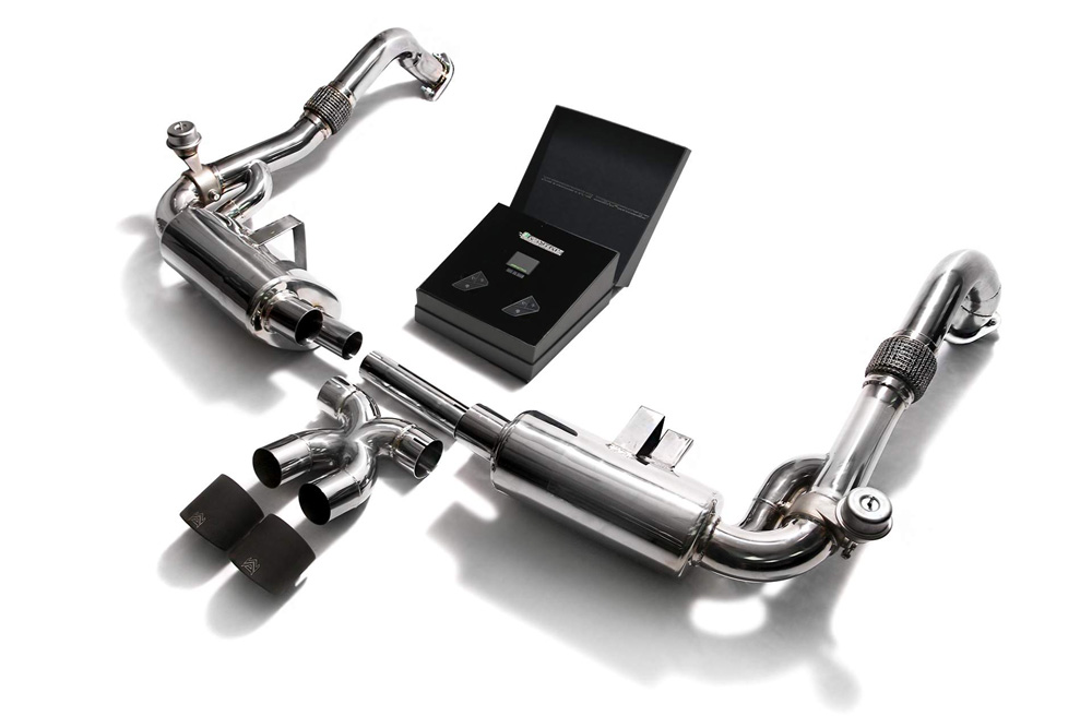 ARMYTRIX Stainless Steel Valvetronic Exhaust System Dual Matte Black Tips Porsche 718 Boxster   Cayman 2017-2021 - P82T1-DS24M