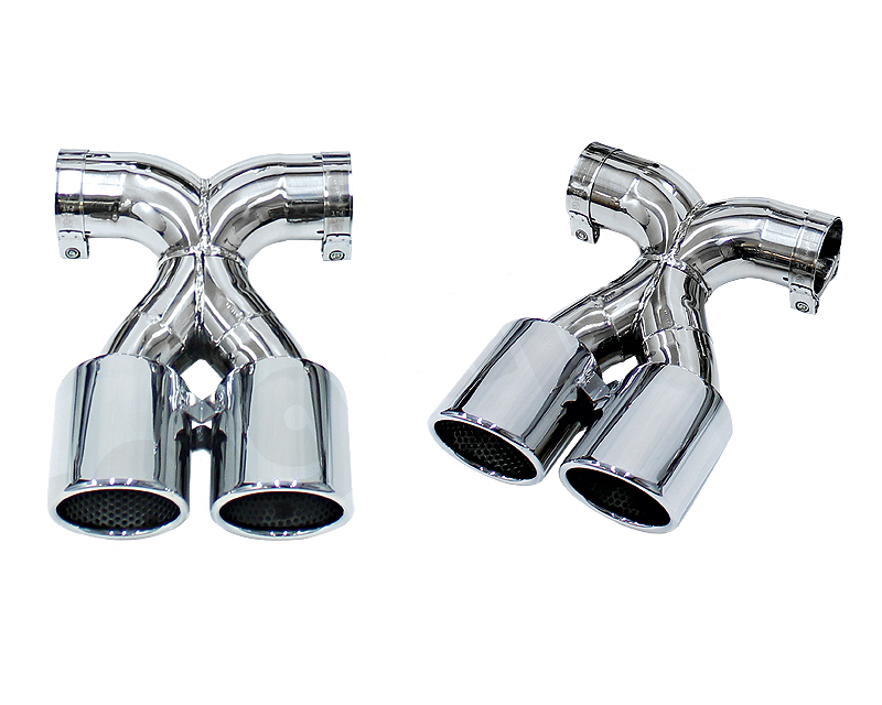 Image of Cargraphic 2x100mm Black Enameled Double End Tailpipe X Version Porsche 981 Boxster 13-14