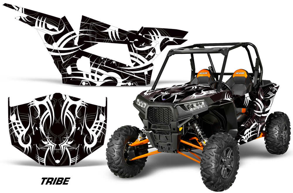 AMR Racing Full Custom UTV Graphics Decal Kit Wrap Tribe White Polaris RZR  XP4 1000 13-18