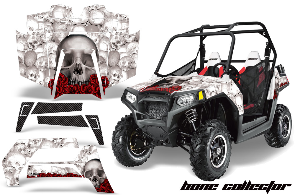 AMR Racing Full Custom UTV Graphics Decal Kit Wrap Bones White Polaris RZR  800 11-14