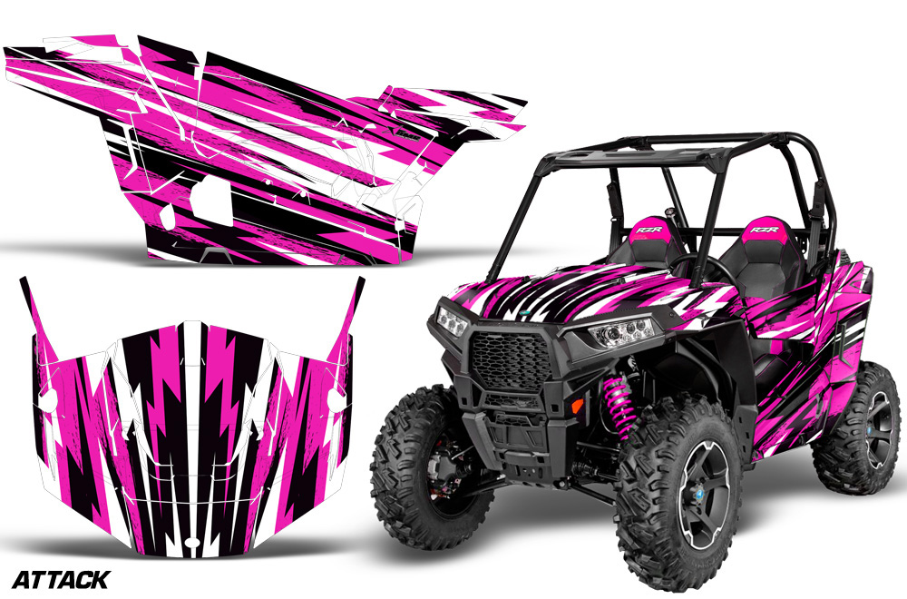 AMR Racing Full Custom UTV Graphics Decal Kit Wrap Attack Pink Polaris RZR  S 900 15-16