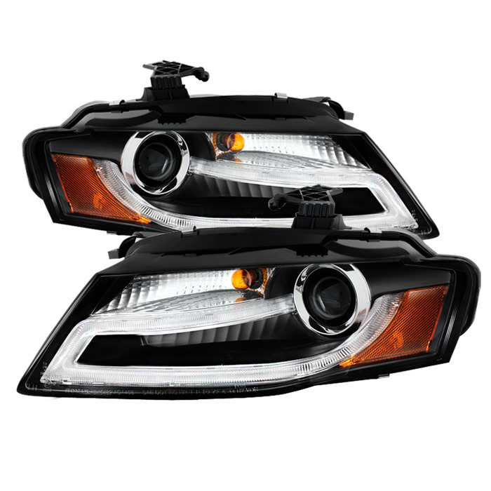 Spyder Auto Black DRL LED Projector Headlights Audi A4 with Xenon|HID Lights 09-12 - PRO-YD-AA408-HID-DRL-BK