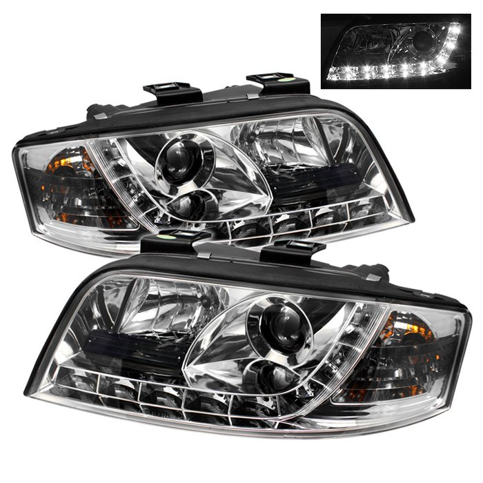 Spyder DRL LED Chrome Projector HeadLights Audi A6 02-04