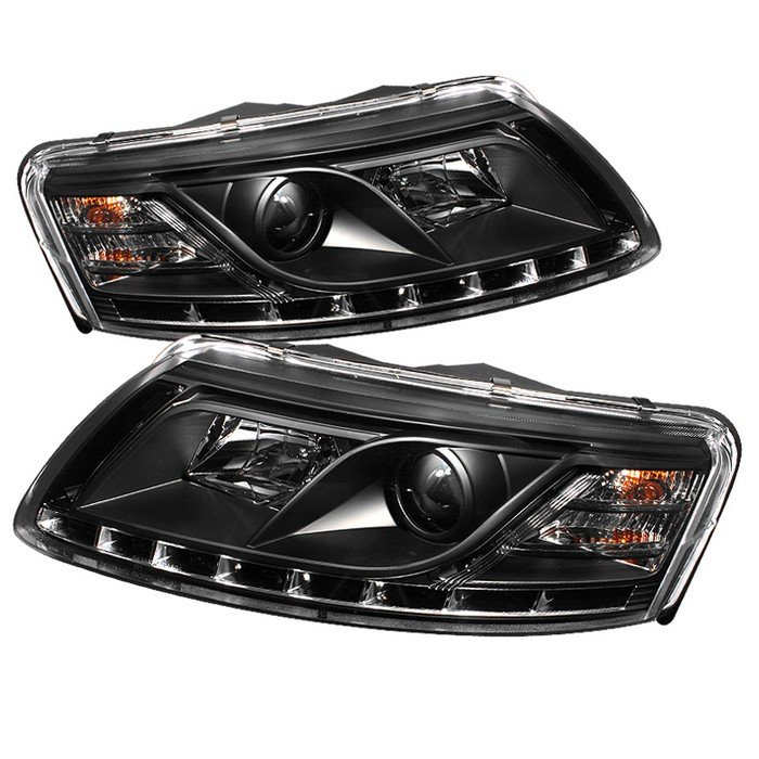 Spyder Non-HID Non Quattro With AFS DRL LED Black Projector HeadLights Audi A6 05-07 - PRO-YD-ADA605-DRL-BK