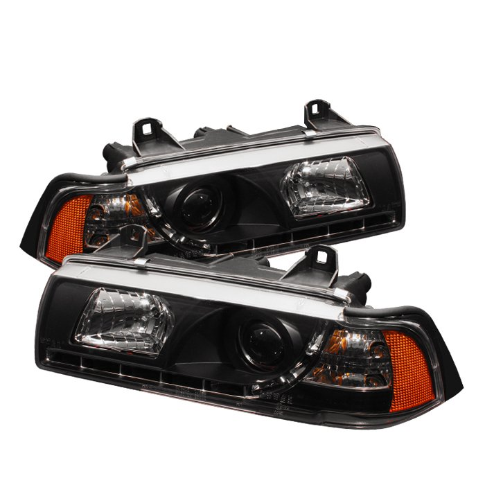 Spyder 2Dr 1Pc DRL LED Black Projector HeadLights BMW E36 3-Series 92-98 - PRO-YD-BMWE36-2D-DRL-BK
