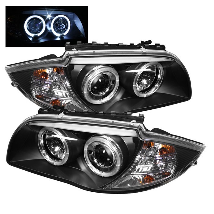 Spyder Halo Black Projector HeadLights BMW E87 1-Series 08-10 - PRO-YD-BMWE87-HL-BK