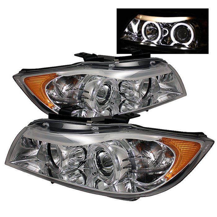 Spyder 4Dr Halo Amber Chrome Projector HeadLights BMW E90 3-Series 06-08 - PRO-YD-BMWE9005-AM-C