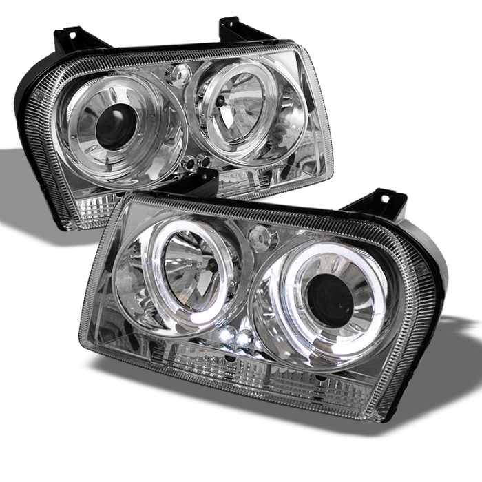 Spyder Halo LED Chrome Projector HeadLights Chrysler 300 09-10 - PRO-YD-C309-HL-C