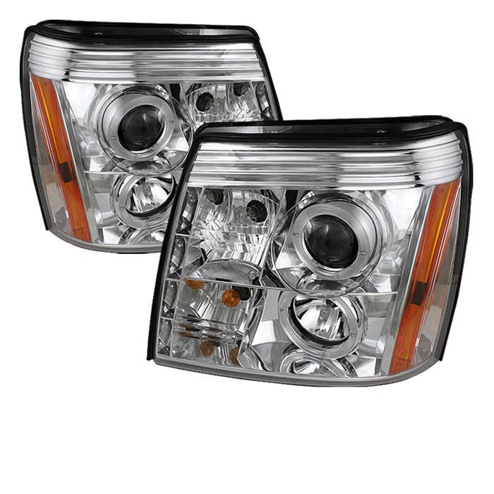 Spyder Auto Chrome DRL LED Halo Projector Headlights with High H1 and0 Low H7 Lights Included Cadillac Escalade with Xenon|HID Lights 02-06 - PRO-YD-CE02-HID-DRL-C