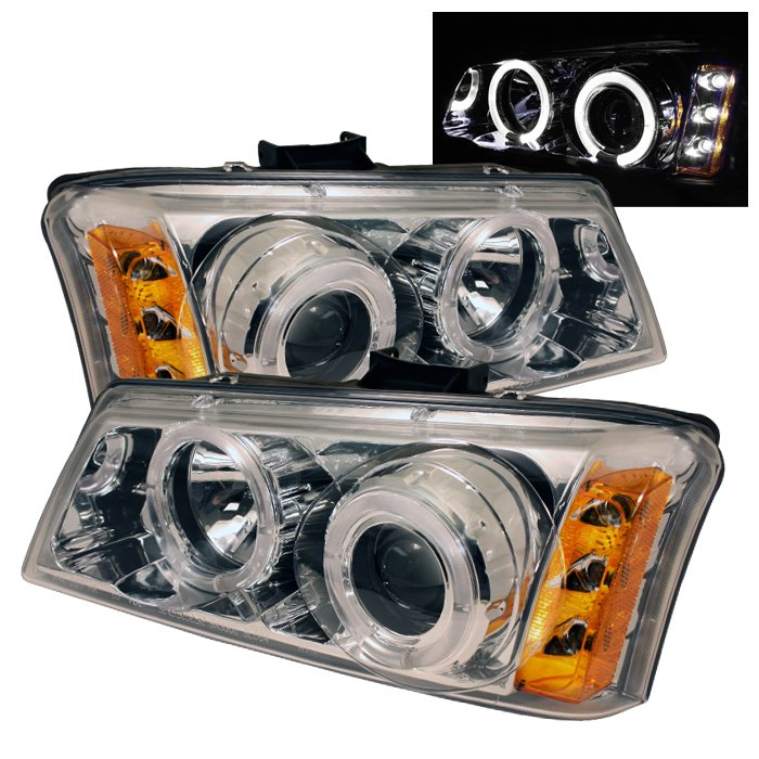 Spyder Halo Chrome Projector HeadLights Chevrolet Silverado 1500 2500 3500 03-06 - PRO-YD-CS03-AM-C