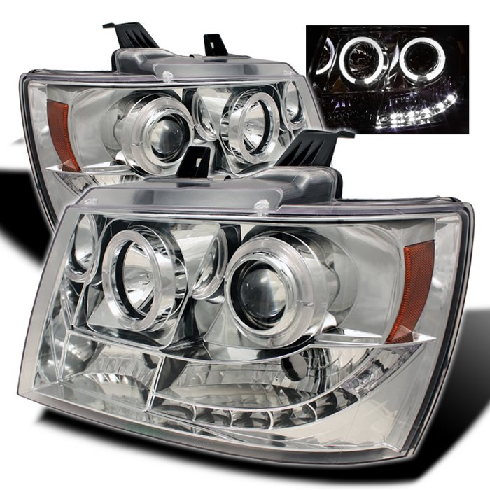 Spyder Halo Chrome Projector HeadLights Chevrolet Suburban 1500 2500 07-09 Chevrolet Tahoe 07-09 - PRO-YD-CSUB07-HL-C