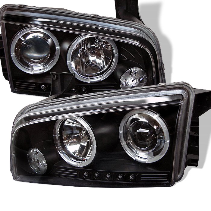 Spyder Non HID Halo LED Black Projector HeadLights Dodge Charger 06-10 - PRO-YD-DCH05-LED-BK