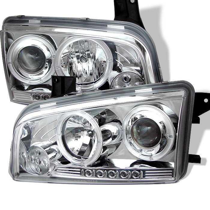 Spyder Non HID Halo LED Chrome Projector HeadLights Dodge Charger 06-10 - PRO-YD-DCH05-LED-C