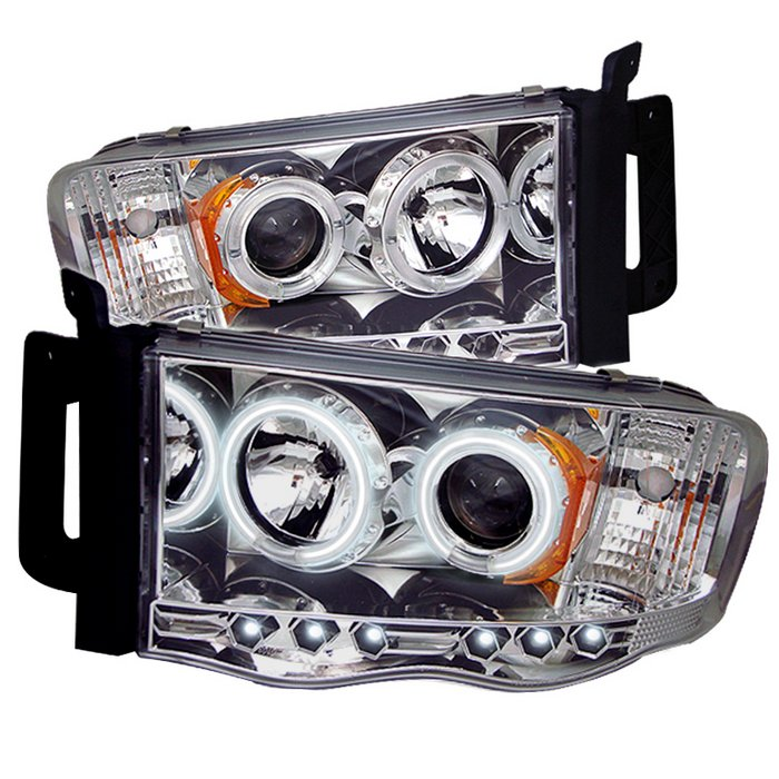 Spyder CCFL LED Chrome Projector HeadLights Dodge Ram 1500 2500 3500 02-05 - PRO-YD-DR02-CCFL-C