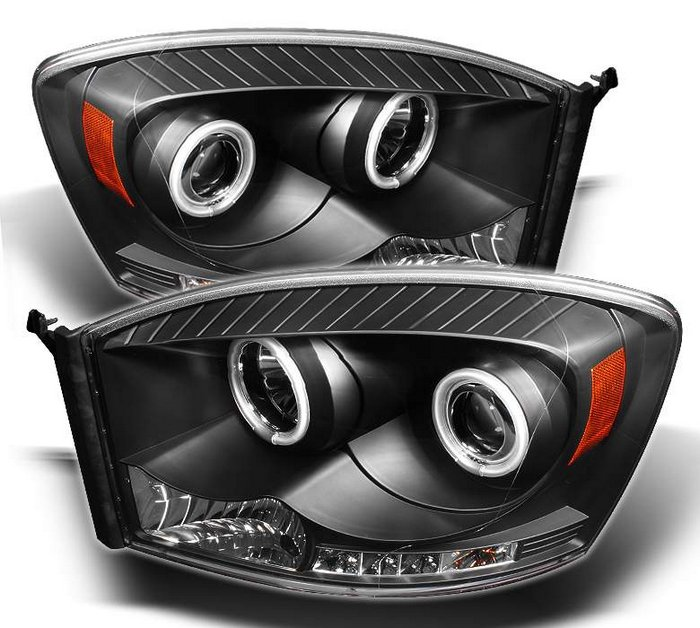 spyder ccfl led jdm black projector headlights dodge ram. Black Bedroom Furniture Sets. Home Design Ideas