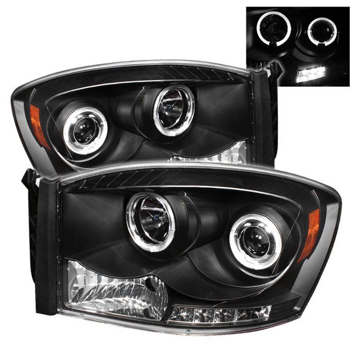 Spyder Halo LED Black Projector HeadLights Dodge Ram 1500 2500 3500 06-08 - PRO-YD-DR06-HL-BK