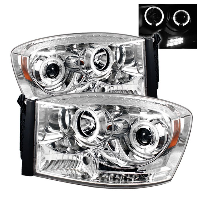 Spyder Halo LED Chrome Projector HeadLights Dodge Ram 1500 2500 3500 06-08 - PRO-YD-DR06-HL-C