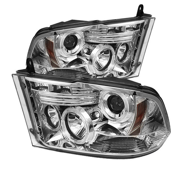 Spyder Auto Chrome LED Halo Projector Headlights with Low H1 Lights  Included Ram 1500 with Halogen Lights 09-14