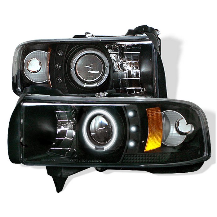 Spyder 1Pc CCFL LED Black Projector HeadLights Dodge Ram 1500 2500 3500 94-01 - PRO-YD-DR94-CCFL-BK
