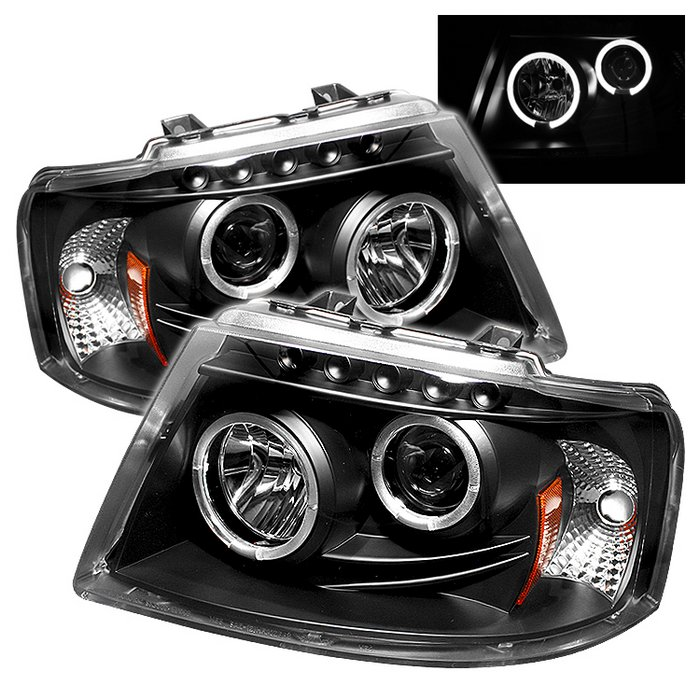 Spyder Halo LED Black Projector HeadLights Ford Expedition 03-06 - PRO-YD-FE03-HL-BK