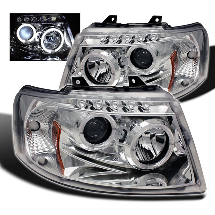 Spyder Halo LED Chrome Projector HeadLights Ford Expedition 03-06 - PRO-YD-FE03-HL-C
