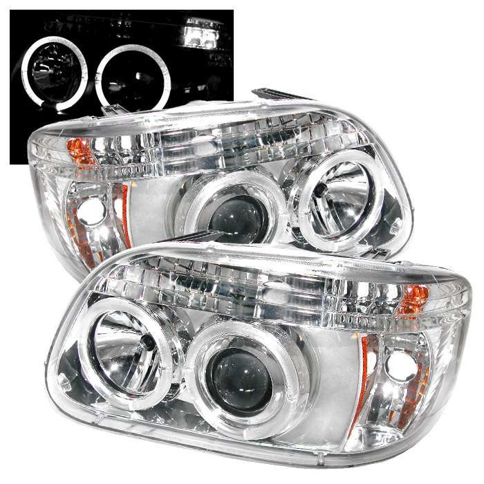 Spyder 1Pc Halo Chrome Projector HeadLights Ford Explorer 95-01 - PRO-YD-FEXP95-HL-1PC-C