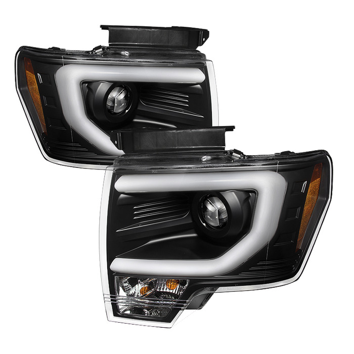 Spyder Auto Black Drl Light Bar Projector Headlights With High H And Low H Lights Included Ford F  With Halogen Lights