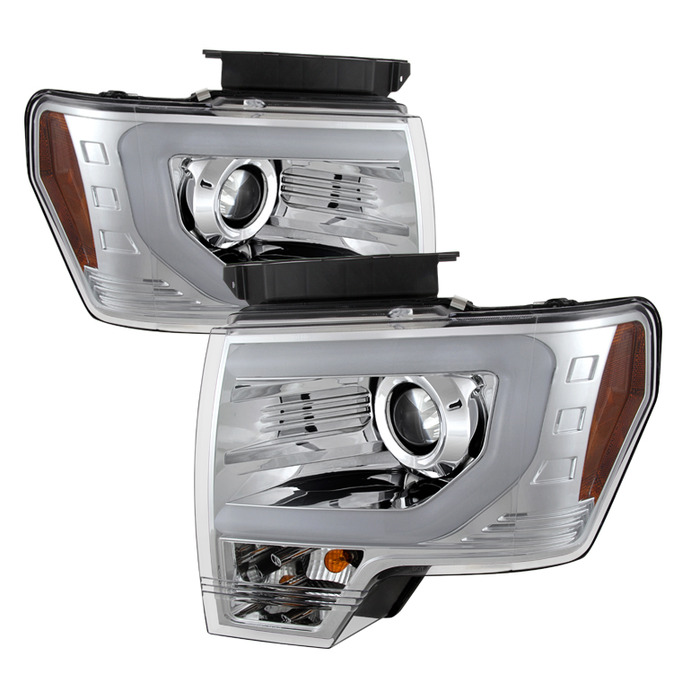 Spyder Auto Chrome DRL Light Bar Projector Headlights with High H7 and Low  H7 Lights Included Ford F-150 with Halogen Lights 09-14