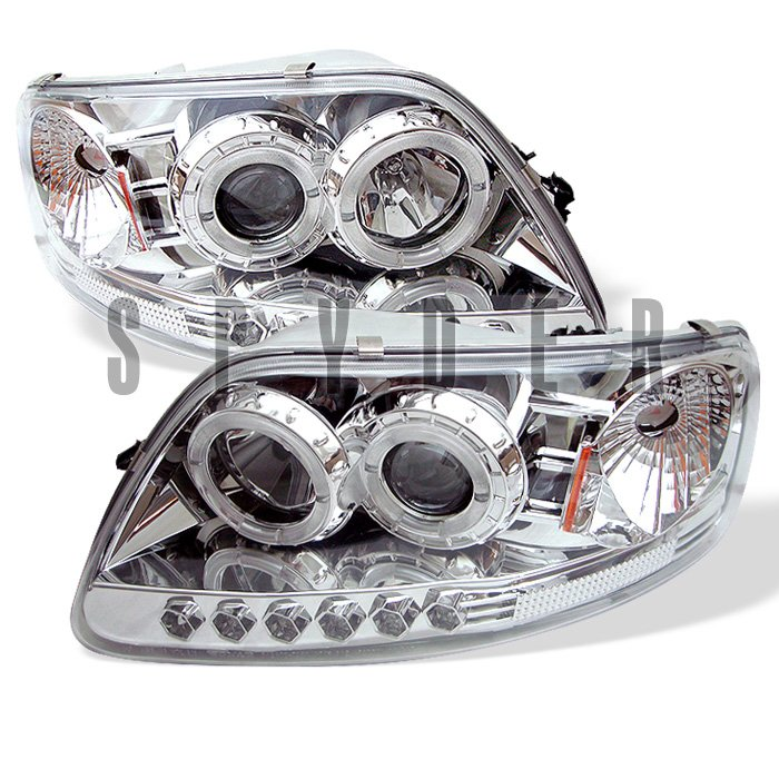 Spyder 1Pc Halo LED chrome Projector HeadLights Ford F150 97-03 Expedition 97-02 - PRO-YD-FF15097-1P-AM-C