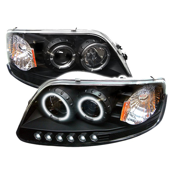 Spyder 1pc Ccfl Led Jdm Black Projector Headlights Ford F150 97 03