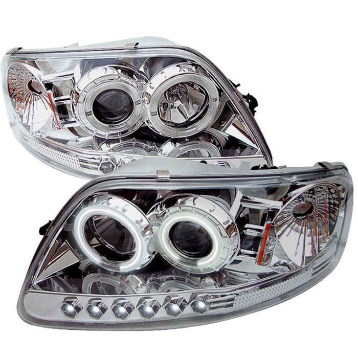 Spyder 1Pc CCFL LED Chrome Projector HeadLights Ford F150 97-03 Expedition 97-02 - PRO-YD-FF15097-1P-CCFL-C