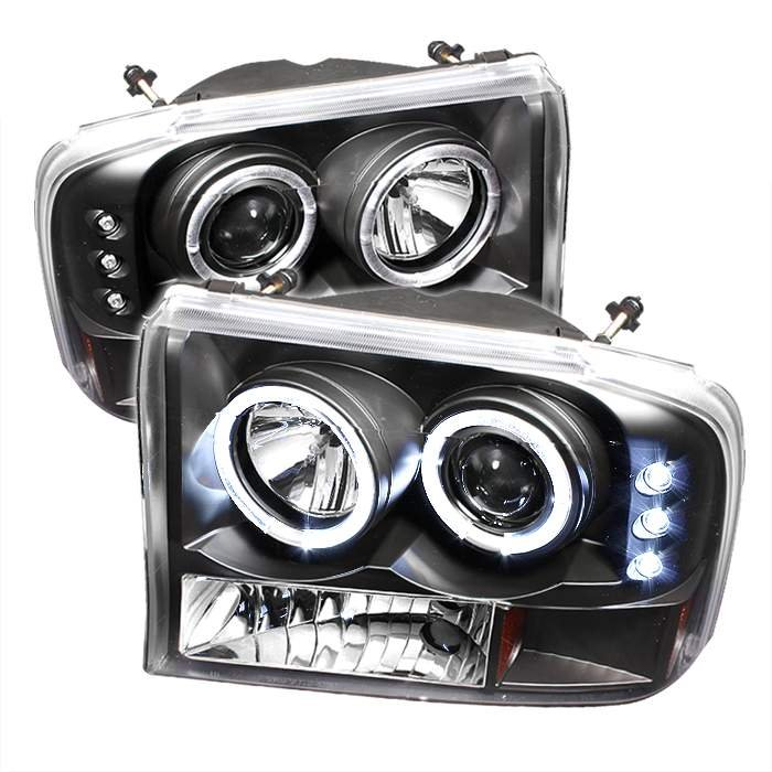 Spyder 1Pc Dual Halo LED Black Projector HeadLights G2 Version Ford Excursion 00-05 - PRO-YD-FF25099-1P-G2-BK