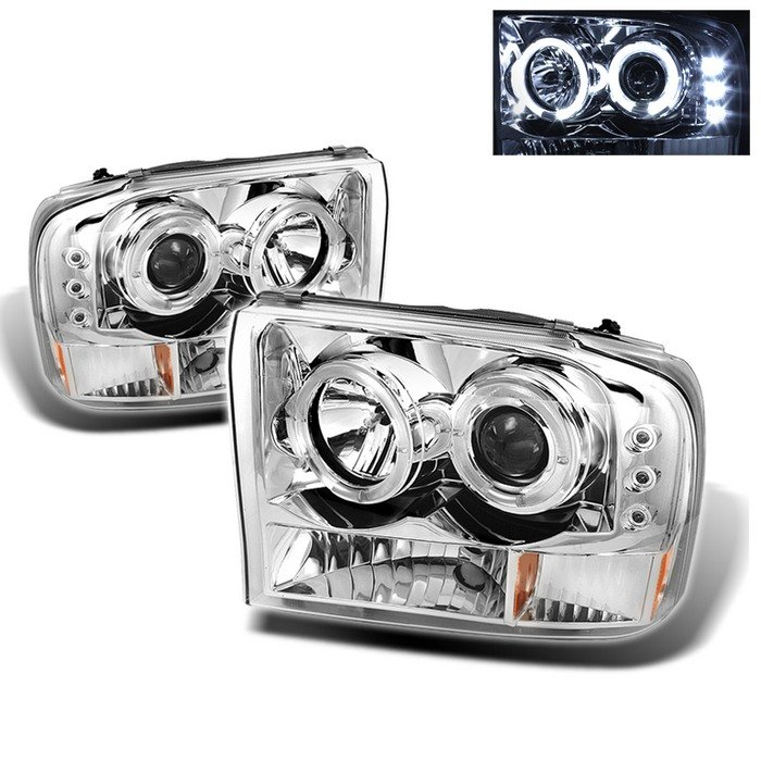 Spyder 1Pc Dual Halo LED Chrome Projector HeadLights G2 Version Ford Excursion 00-05 - PRO-YD-FF25099-1P-G2-C