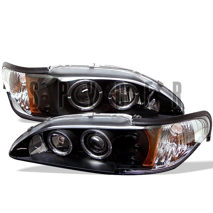 Spyder 1Pc Halo LED Black Projector HeadLights Ford Mustang 94-98 - PRO-YD-FM94-1PC-AM-BK