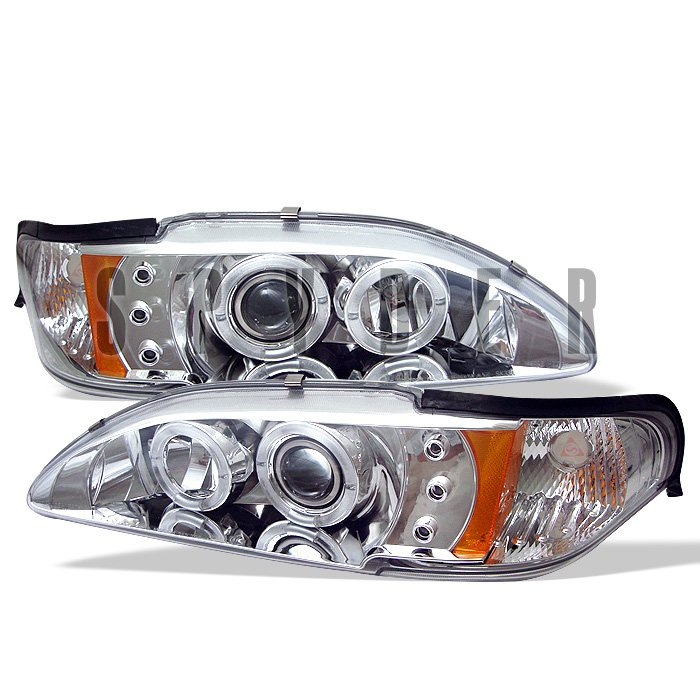 Spyder 1Pc Halo LED Chrome Projector HeadLights Ford Mustang 94-98 - PRO-YD-FM94-1PC-AM-C
