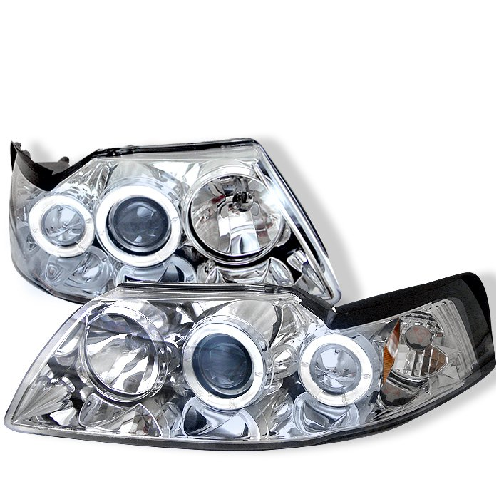Spyder Halo Chrome Projector HeadLights Ford Mustang 99-04 - PRO-YD-FM99-1PC-AM-C