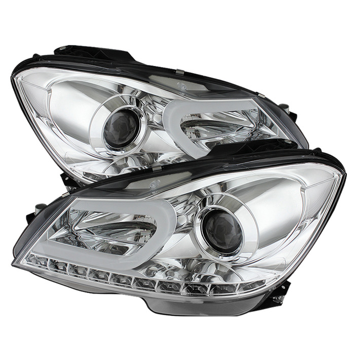 Spyder Auto Chrome DRL Projector Headlights with High H1 and Low H7 Lights  Included Mercedes Benz W204 C300 with Halogen Lights 12-13