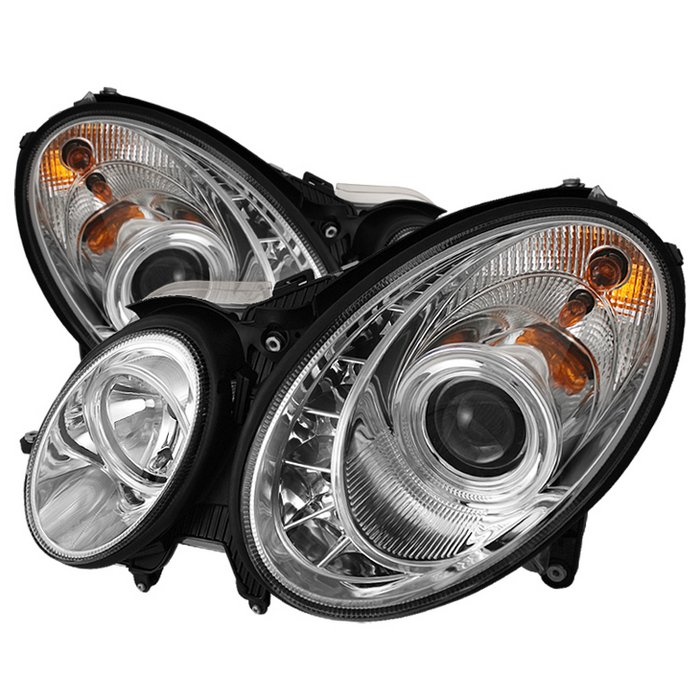 Spyder DRL LED Chrome Projector HeadLights Mercedes Benz W211 E-Class 03-06 - PRO-YD-MBW21103-DRL-C