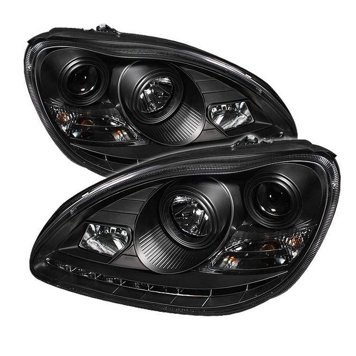 Spyder HID Type DRL LED Black Projector HeadLights Mercedes Benz W220 S-Class 03-05 - PRO-YD-MBW220-HID-DRL-BK