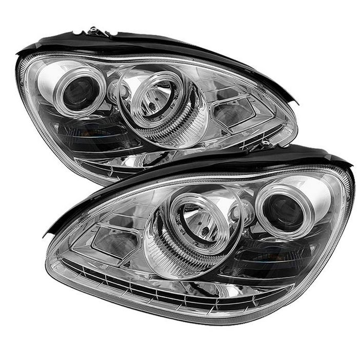 Spyder HID Type DRL LED Chrome Projector HeadLights Mercedes Benz W220 S-Class 03-05 - PRO-YD-MBW220-HID-DRL-C